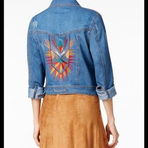 FairChild Embroidered Distressed Denim Jacket Sz M